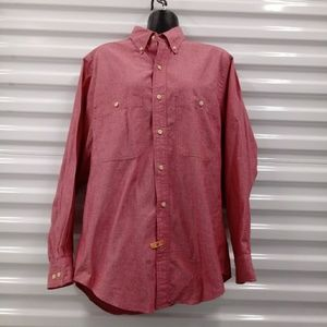 Lands End Oxford Button Up Pink Salmon Shirt Small
